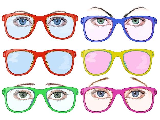 Olhos e óculos de mulher