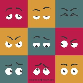 Olhos expressivos dos desenhos animados ajustados