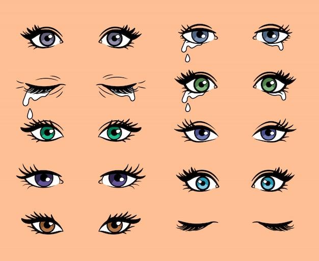 Olhos femininos de arte pop dos desenhos animados