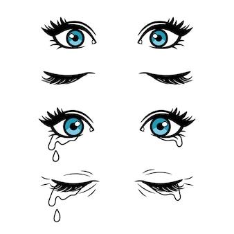Olhos femininos dos desenhos animados