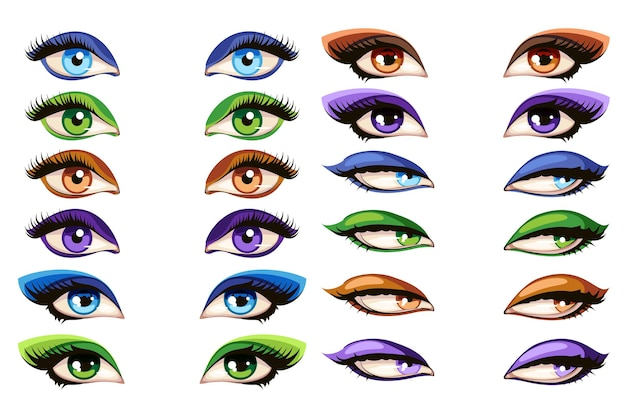 Olhos femininos. ilustração do conjunto de olhos para maquiagem mascara glamour