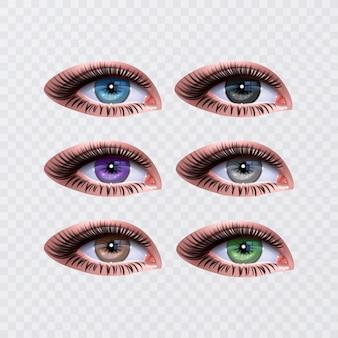 Olhos femininos para design de glamour de saúde. cores azuis, verdes e marrons. olhos abertos de mulher