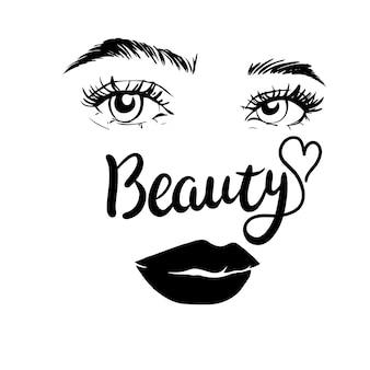 Olhos femininos preto e branco isolados. vetor e ilustrações Vetor Premium