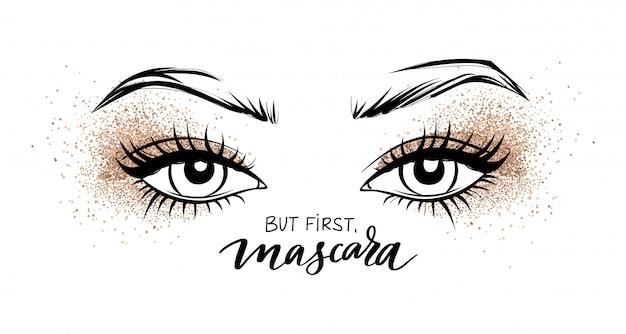 Olhos lindos, com longos cílios pretos e sombra golden glitter.