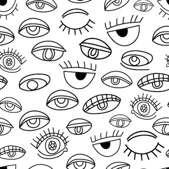 Olhos rabiscar sem costura de fundo preto e branco