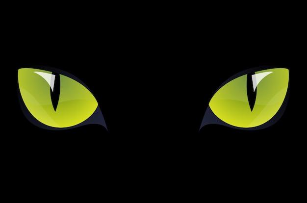Olhos verdes de gato preto