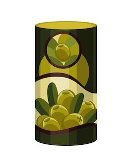 Oliva. frasco de metal verde do vetor. azeitonas verdes em conserva.