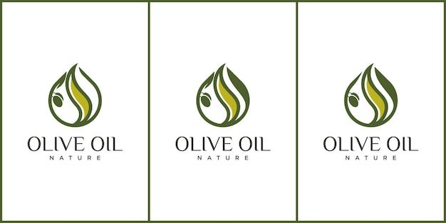 Olive icon ilustração vetorial design, conjunto de logotipo de azeite e design de cartão para negócios. gota de azeite de oliva extra virgem, rótulo de conjunto de vetor com ramo de oliveira,