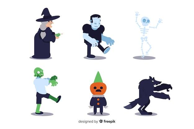 Ollection de personagem de halloween em design plano