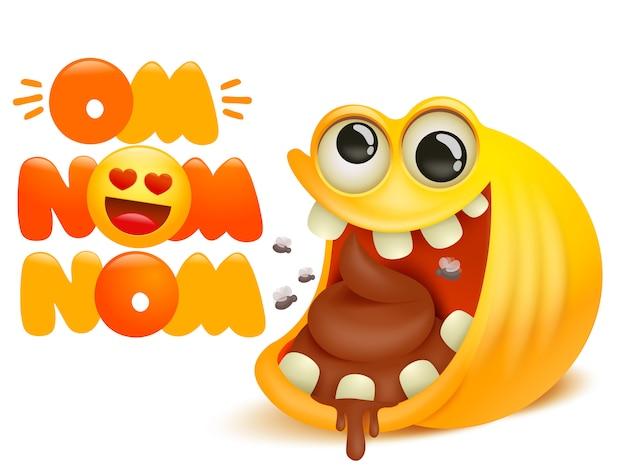 Om nom nom cartão de desenho em quadrinhos. personagem de emoji sorriso amarelo comendo cocô