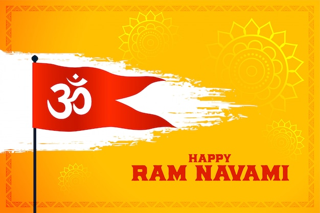 Om símbolo bandeira para feliz ram navami festival