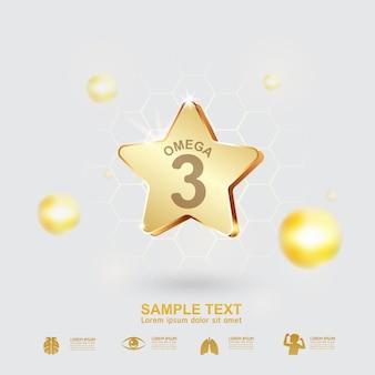 Omega 3 concept gold star logo para produtos