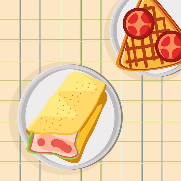 Omelete e waffle no café da manhã