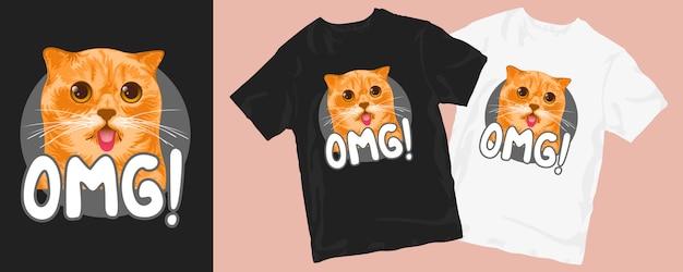 Omg desenho de t-shirt com ilustração de gato fofo