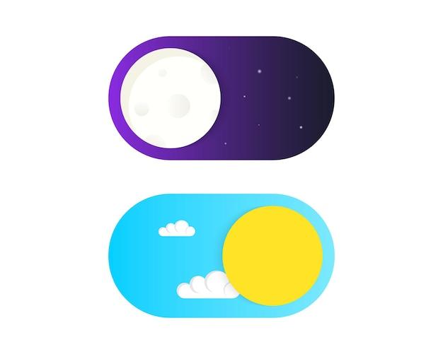 On off alternar vetor de botão de alternância. botões claros e escuros. modo diurno e noturno. vector on off switch