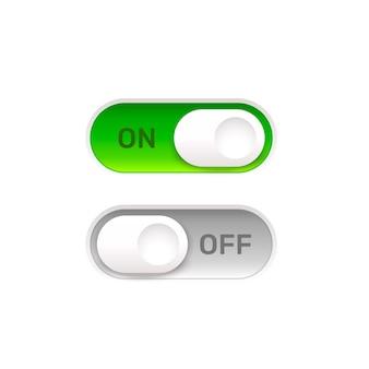 On off botão interruptor ui isolado fundo branco. ilustração vetorial