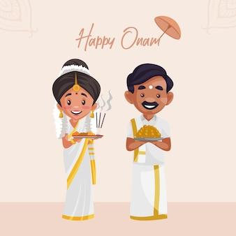 Onam feliz com casal indiano