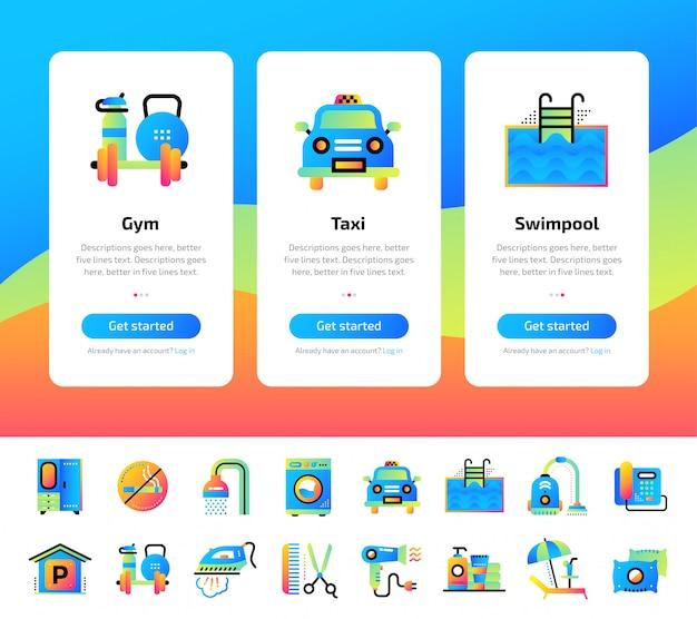 Onboarding app telas de conjunto de ilustrações de serviços de hotel.