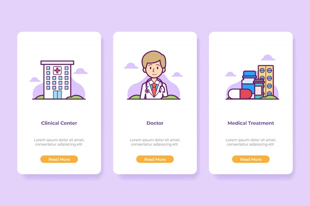 Onboarding hospital medical application interface conjunto de telas