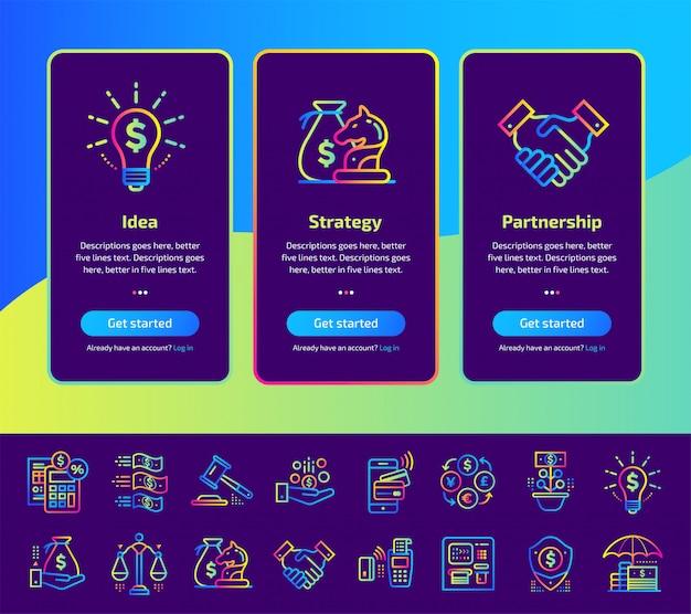 Onboarding telas de aplicativos de finanças, conjunto de ilustração bancário.