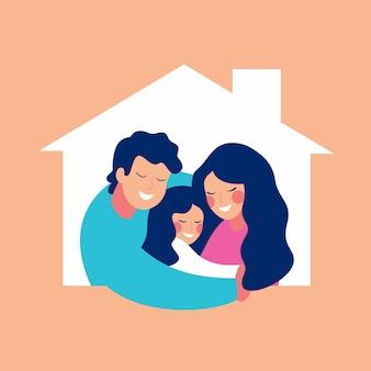 Сoncept se hospedar uma jovem família com um filho