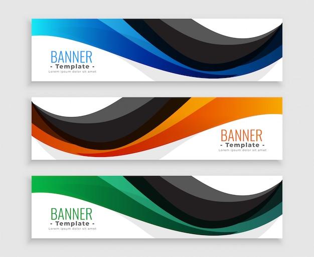 Onda abstrata web banners definidos em três cores