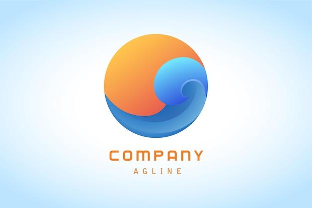 Onda azul com logotipo gradiente de círculo laranja