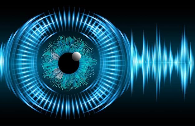 Onda azul olho cyber circuito futuro tecnologia conceito fundo