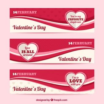 Onda banners valentine vermelho
