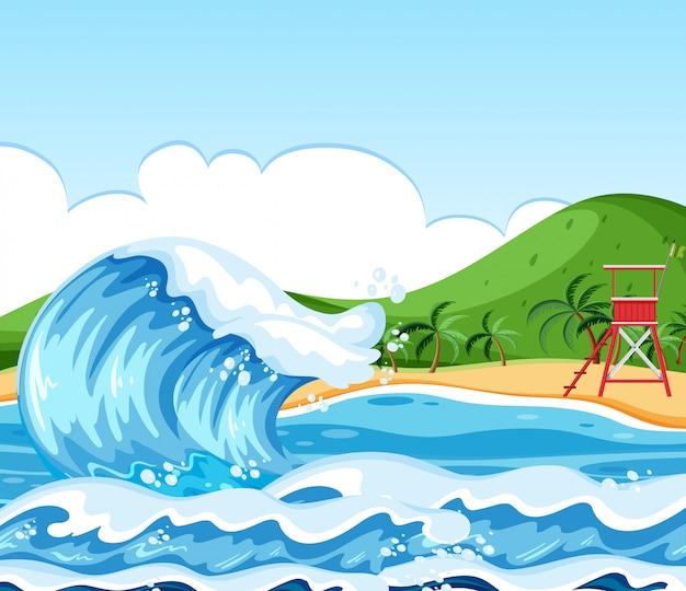 Onda cena de paisagem de praia