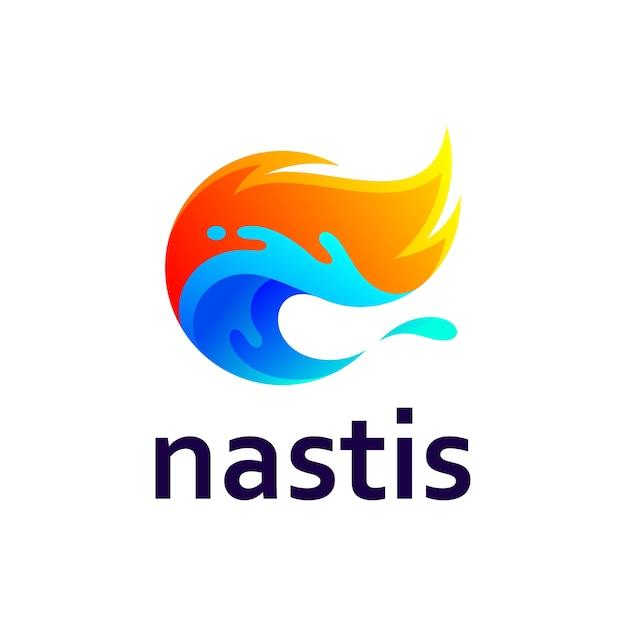 Onda com design de logotipo de respingos de fogo e água