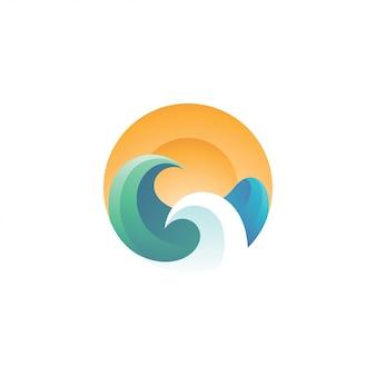 Onda de água mar e sol logotipo