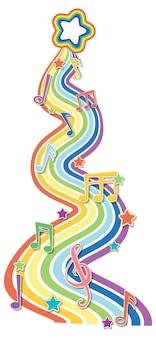 Onda de arco-íris com símbolos de melodia