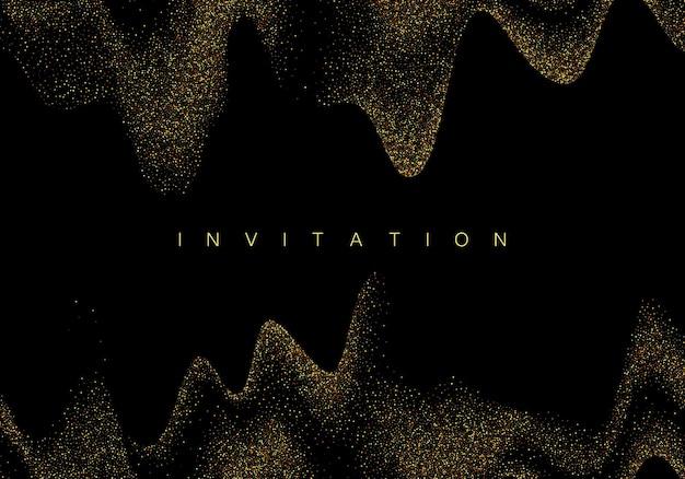 Onda de confete com glitter dourado isolada no preto