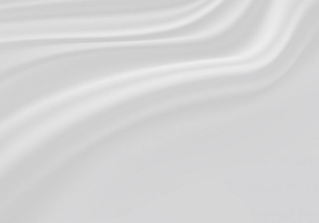 Onda de cortina de tecido branco com fundo preto do espaço