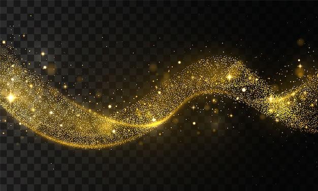 Onda de glitter dourado de rastreamento de cometa. pó de estrelas trilha espumantes partículas em fundo transparente. onda de confetes ouro brilhante. efeito de luz. flare abstrato ouro