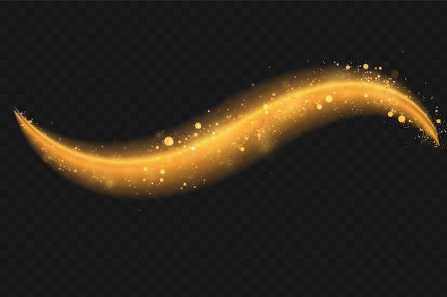 Onda de glitter dourados com partículas brilhantes.