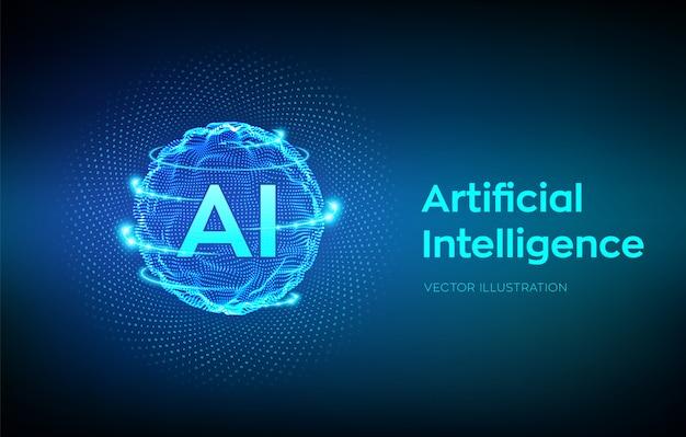 Onda de grade de esfera com código binário. ai inteligência artificial logo. conceito de aprendizado de máquina.