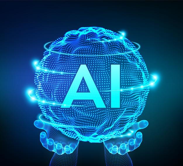 Onda de grade de esfera com código binário. ai logotipo de inteligência artificial nas mãos. conceito de aprendizado de máquina.