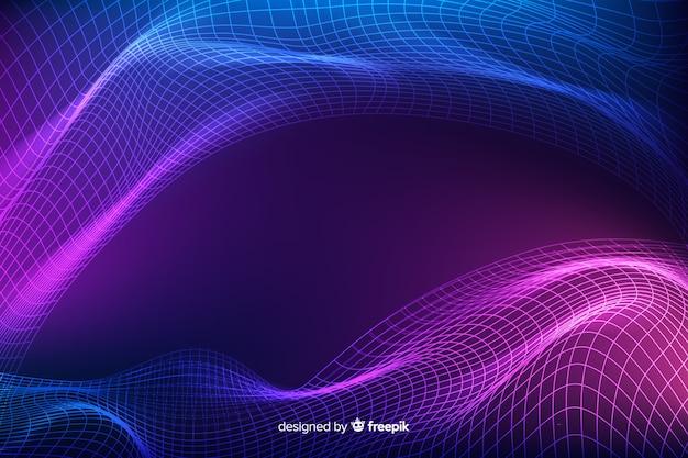 Onda de grade fractal abstrato Vetor Premium