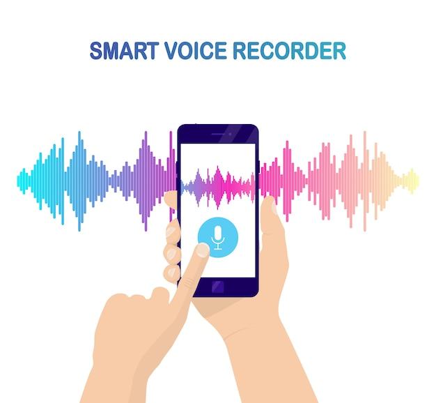Onda de gradiente de áudio de som do equalizador. celular com ícone de microfone. aplicativo de telefone para gravação de voz Vetor Premium
