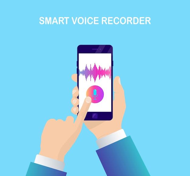 Onda de gradiente de áudio de som do equalizador. celular com ícone de microfone. aplicativo de telefone para gravação de voz
