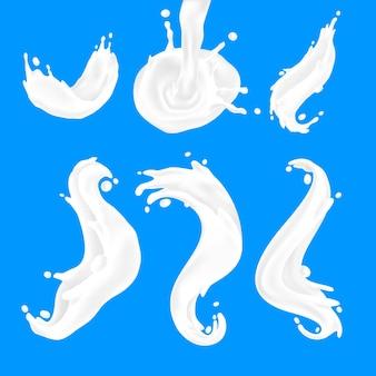 Onda de leite. fluxos de iogurte branco e respingos de creme, formas 3d realistas de coroa de leite líquido