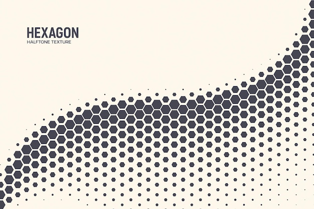 Onda de oscilação curva padrão hexagonal de meio-tom geométrico fundo abstrato