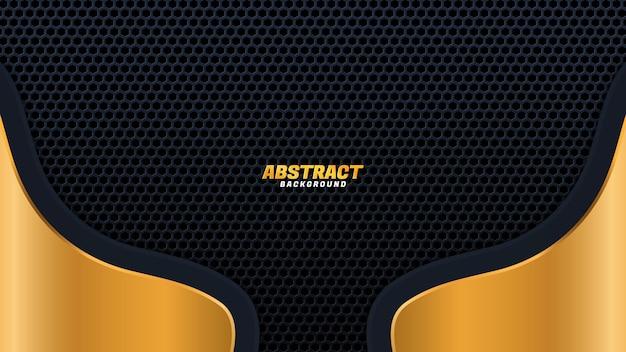 Onda de ouro brilhante abstrata em estilo de luxo de fundo preto. ilustração vetorial