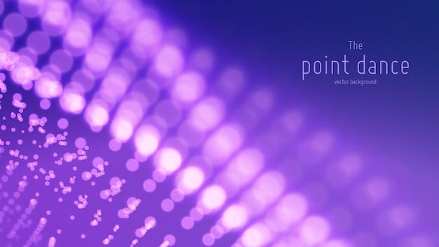 Onda de partícula abstrata, array de pontos com profundidade de campo rasa. ilustração futurista. respingo digital ou explosão de pontos de dados.