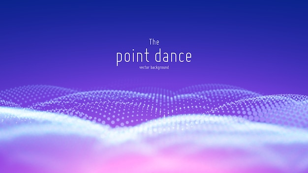 Onda de partícula abstrata de vetor, matriz de pontos com profundidade de campo rasa.