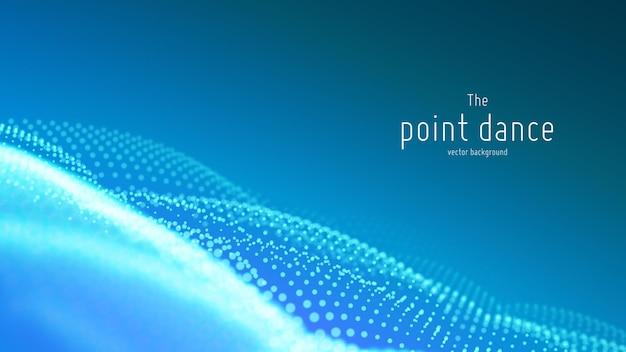 Onda de partícula abstrata de vetor, matriz de pontos com profundidade de campo rasa