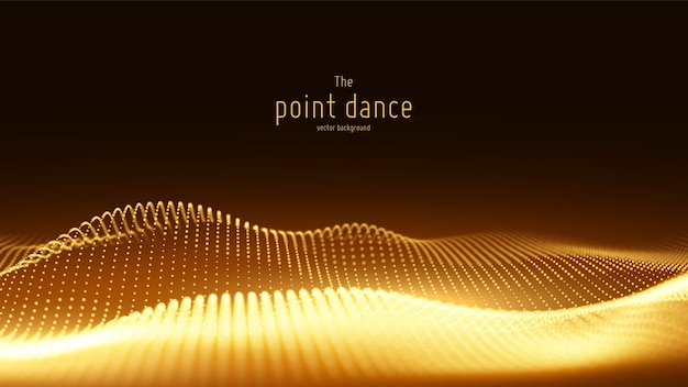 Onda de partícula dourada abstrata de vetor, matriz de pontos, profundidade de campo rasa.