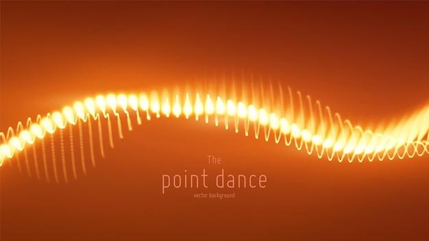 Onda de partícula vermelha abstrata de vetor, matriz de pontos, profundidade de campo rasa